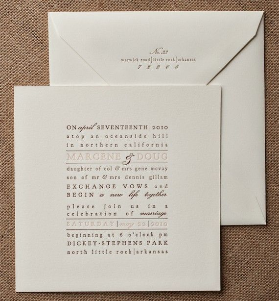 Letterpress typography invitation