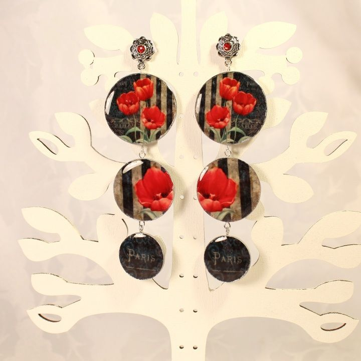 "Earrings ""Red and Black"" picture no. 1"