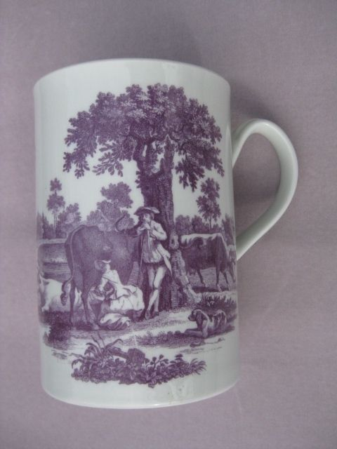 Rare Worcester mug with lilac coloured prints by hancock