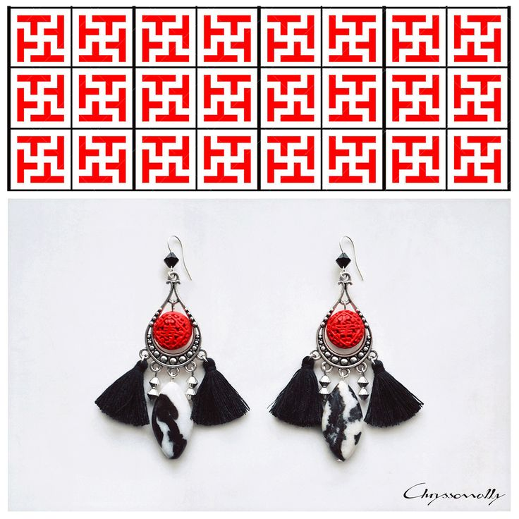 JEWELRY | Chryssomally || Art & Fashion Designer - Asian inspired,  modern ethnic earrings with red, black and white gemstones and tassels.