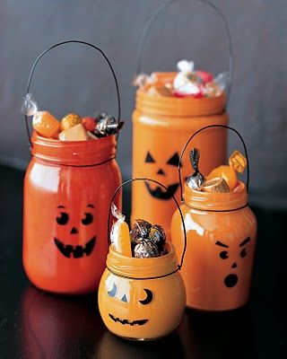 painted jar jack o' lanterns