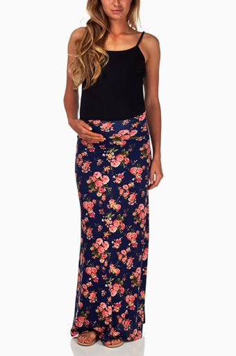 Navy-Blue-Floral-Printed-Maternity-Maxi-Skirt