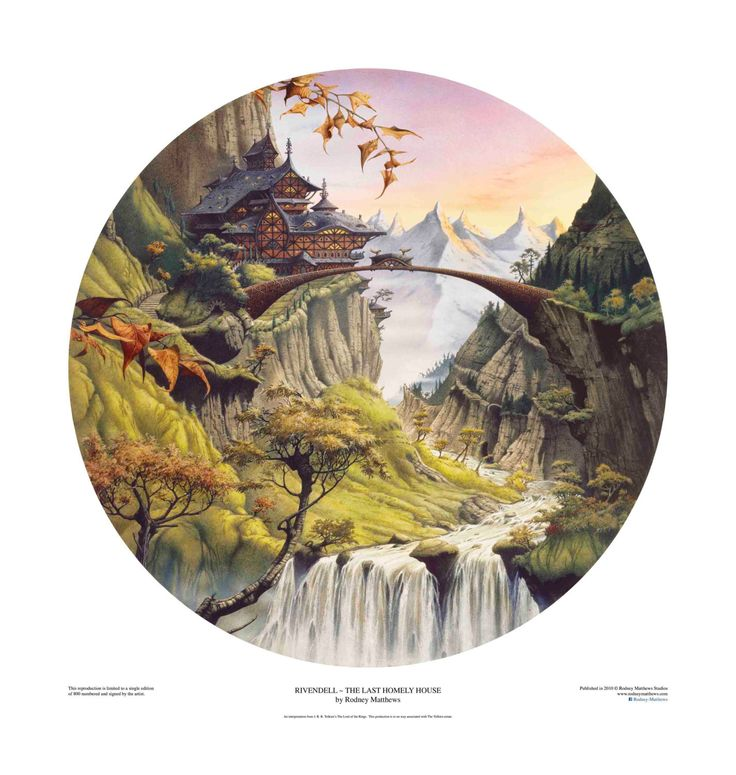 ON SALE Rivendell ~ The Last Homely House limited edition print, hand-signed and numbered by Rodney Matthews - £96.00 GBP