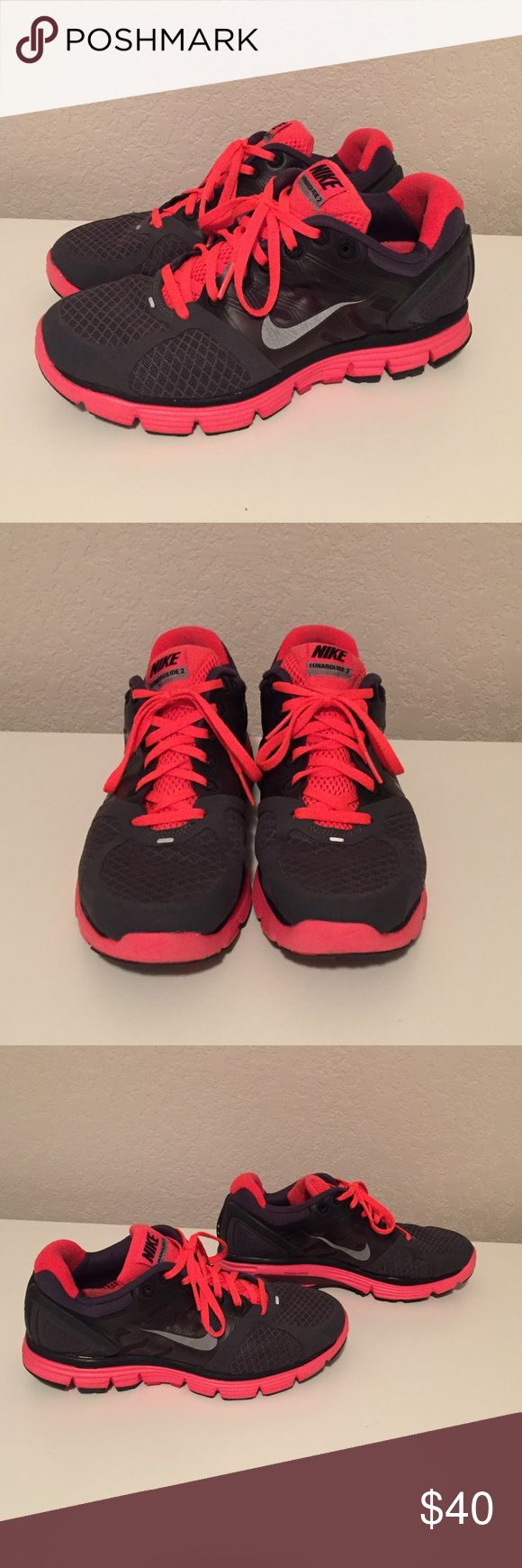 Nike Lunarglide 2 Great condition! Grey and bright coral color! Very comfy! Size 7 Nike Shoes Athletic Shoes