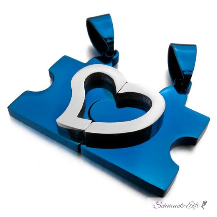 Partnerketten Puzzle mit Herz blau Edelstahl inkl. Ketten im Etui GR