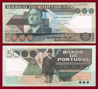 Notas de Portugal e Estrangeiro World Paper Money and Banknotes: Portugal 5000 Escudos 1986 - Pick 182e