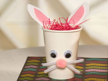"""Bunny Cup. To Hold """"Rabbit food for kindergarten party. Put ranch in the bottom, and fill with carrots and celery."""