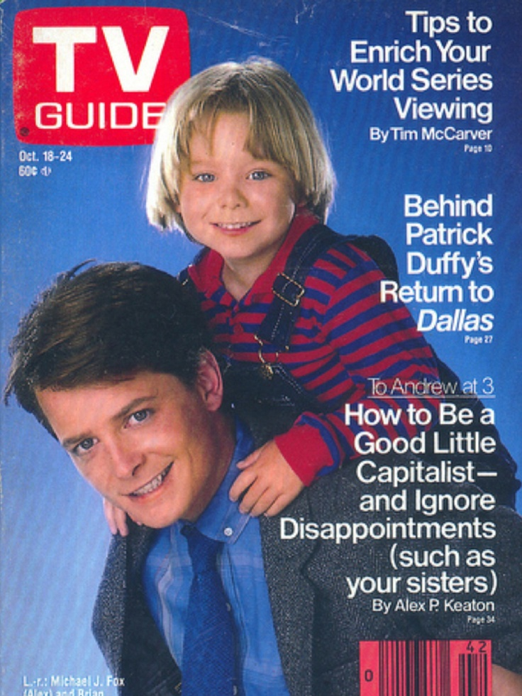 """Cast of """"Family Ties"""" on TV Guide"""