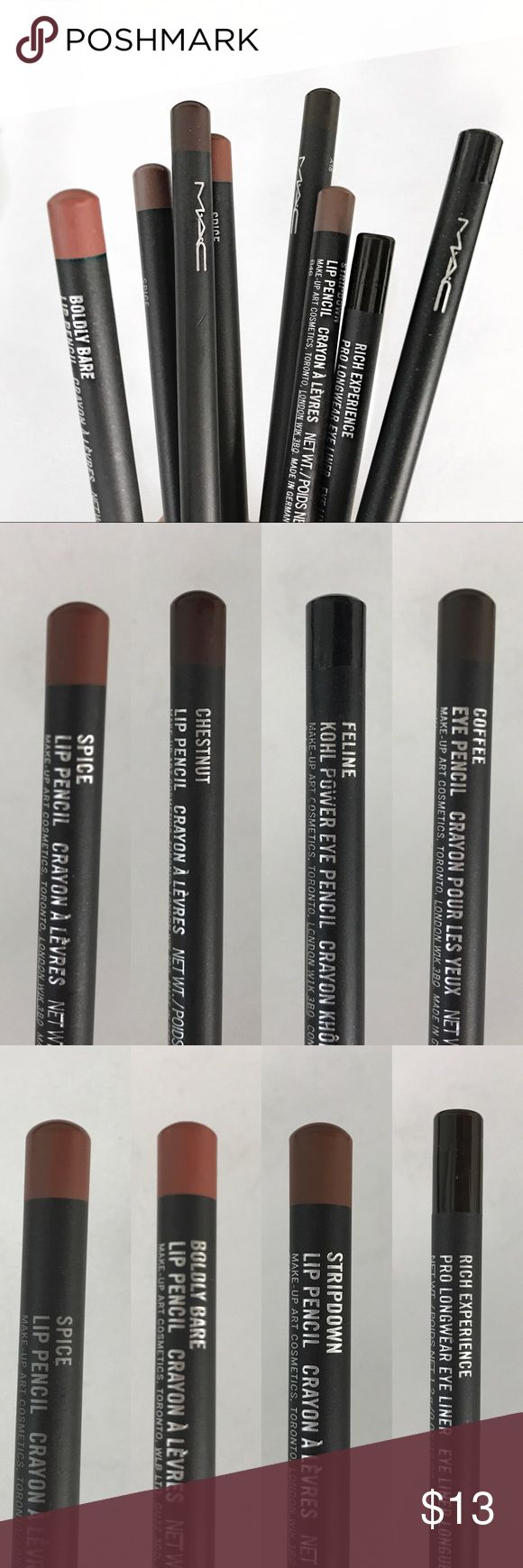 MAC Lip Liner or Eye Pencil MAC Lip liners and Eye pencils 4 sticks for $40   Lips: - stripdown  - boldly bare - chestnut    Eye: - Feline   Used once for model show *  Let me know if interested or have questions :) MAC Cosmetics Makeup Lip Liner