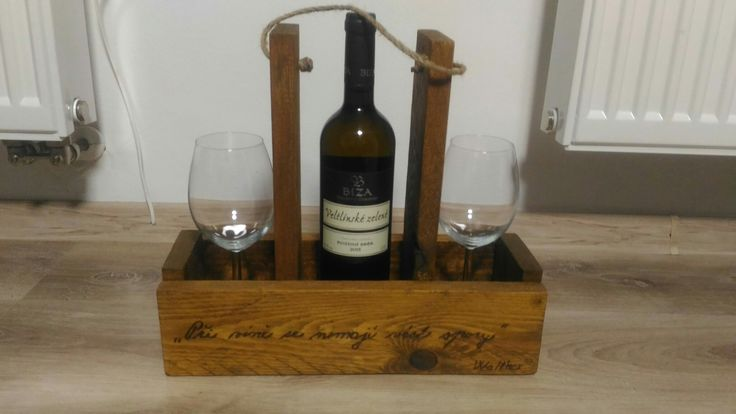 Wine bottle, wine glass from wood