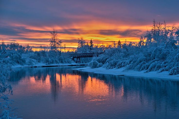 Sunset over Chena River at Fairbanks, Alaska. Isn't it beautiful? #TravelYourPantsOff