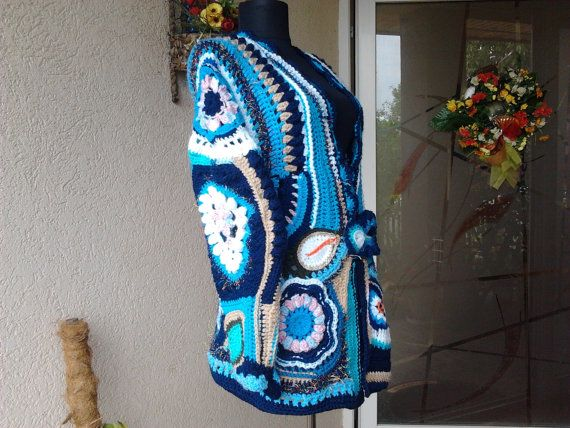 Jacket Ocean BlueUnique as you by AnnesMagicCrochet on Etsy