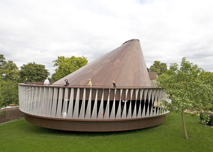 The 2007 iteration of London's annual Serpentine Gallery Pavilion was the result of a collaboration between Kjetil Thorsen of Snøhetta and Danish-Icelandic artist Olafur Eliasson. Designed with a circular footprint, the wood-covered structure leads visitors up a spiral path lined with twisted panels of white cord, finally reaching a peaked roof with an oculus for added light.