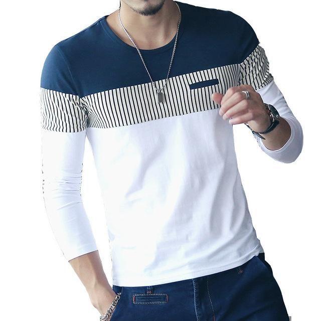 FGKKS New Arrival Fashion T-Shirt Men Brand Long Sleeve Patchwork Striped T Shirts Mens Casual Hip Hop T Shirt Male Plus Size