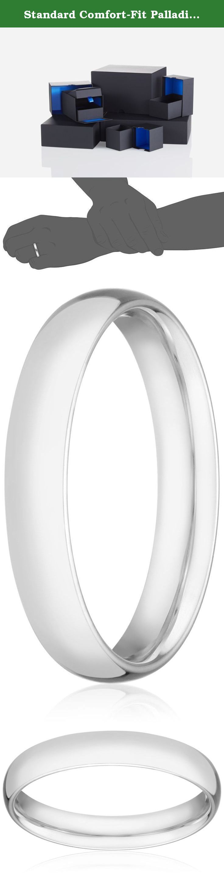 Standard Comfort-Fit Palladium Band, 4mm, Size 12. With its sleek metallic design, the Men's Palladium Comfort Fit Wedding Band Ring with Luxury High Polish is a classic piece he will enjoy wearing every day. This ring is 4mm in width and is polished to reveal incredible shine. Embracing comfort-fit design, the band grants relaxing wear from day to night. Crafted out of Palladium, a white precious metal from the platinum group, it is a quality accessory that will last.
