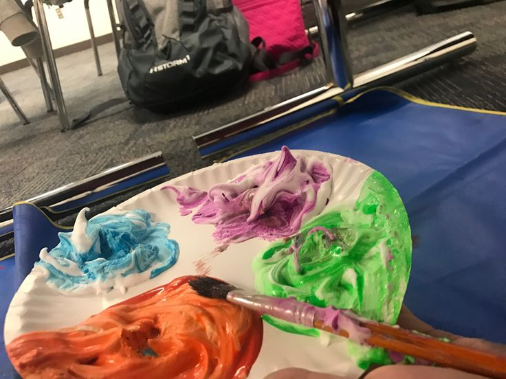 Michael Angelo painting: Painting underneath the table ( laying on back ) to make a mural.   Materials: Paint mixed with shaving cream, paint brushed, and big paper.   *Can be done as a class or independently