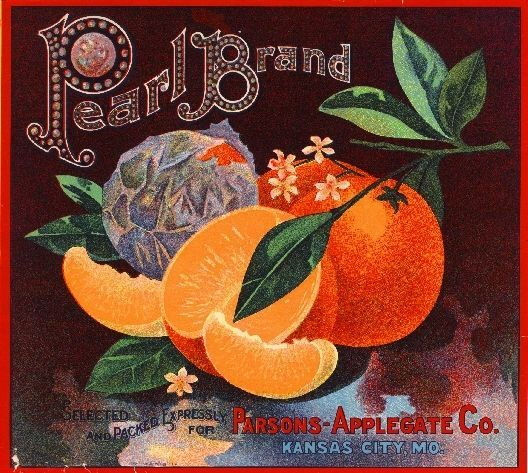 Kansas City, MO - Pearl Orange Citrus Fruit Crate Box Label Advertising Art Print. Printed on highest quality stock soft gloss paper. Actual image dimensions are approximately 10 x 11 inches.