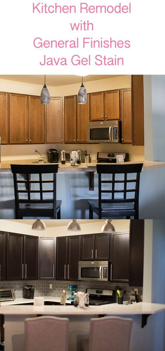 Darker kitchen cabinets with General Finishes Java Gel Stain Paint Before and After kitchen remodel   Click through now for details!
