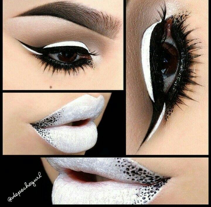 White black makeup lipstick eyeliner