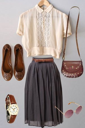 blush / off-white detailed blouse + brown belt, thin + dark gray skirt