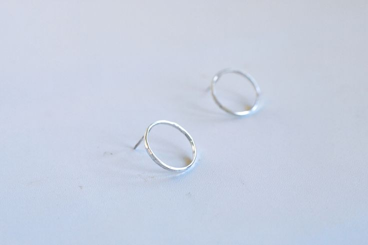 Mini Loop silver earrings. Simple and minimalist jewelry. Thin circle earrings.