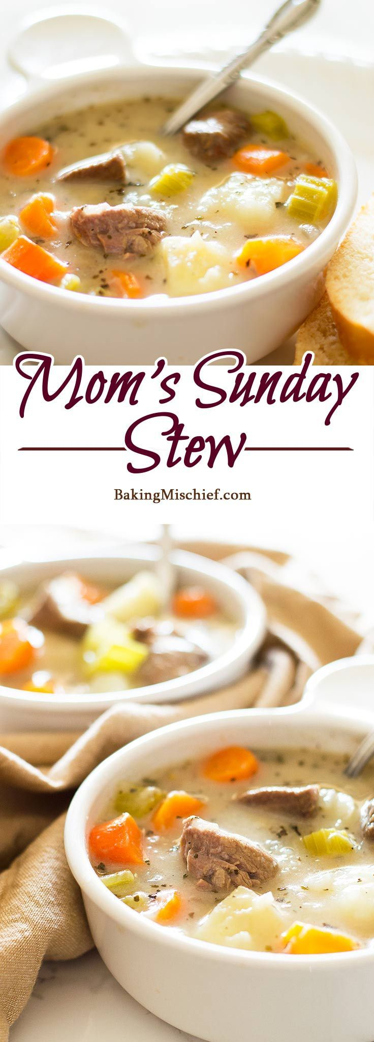 Mom's Sunday Stew - Completely from scratch delicious and hearty beef stew, just like Mom used to make it. Recipe includes nutritional information. http://BakingMischief.com