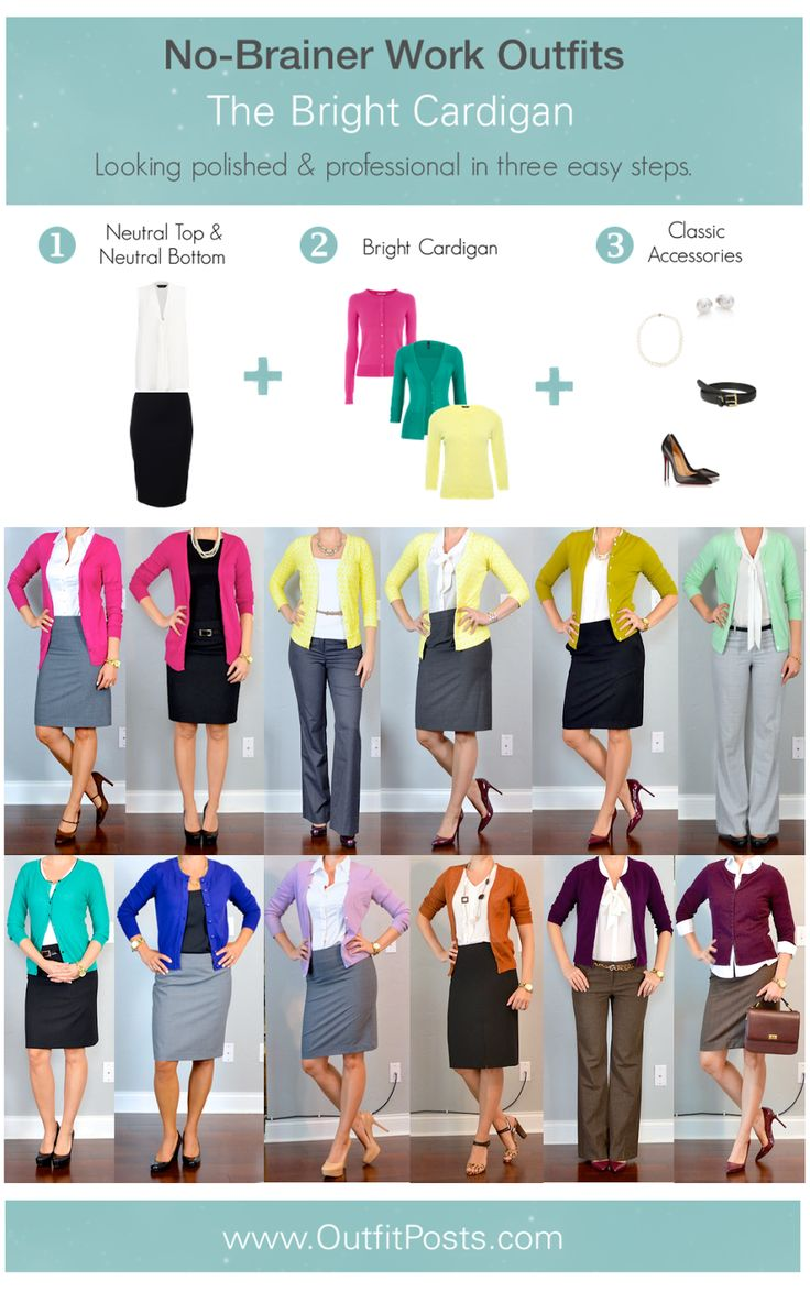 "outfit post: no-brainer work outfits ""The Bright Cardigan Formula"""