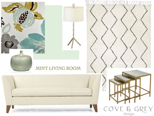 mint living room design board