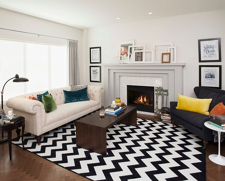 Transitional living room with a chevron pattern rug