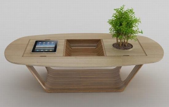 bonsai wood coffee table with integrated ipad module