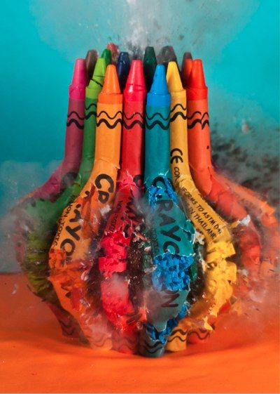 Crayons around a firecracker ~Alan Sailer uses a camera and some explosives to capture spectacular images of everyday objects exploding in slow motion. You'll hardly believe that they're real! Thats so cool.
