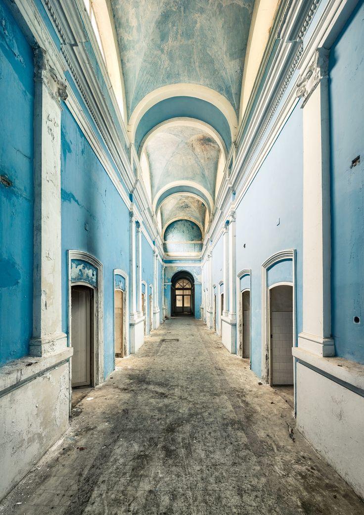 abandoned public baths | 'blue aisle' by Gregoire Cachemaille