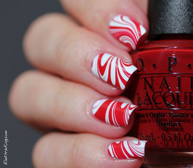 red & white water marble nails
