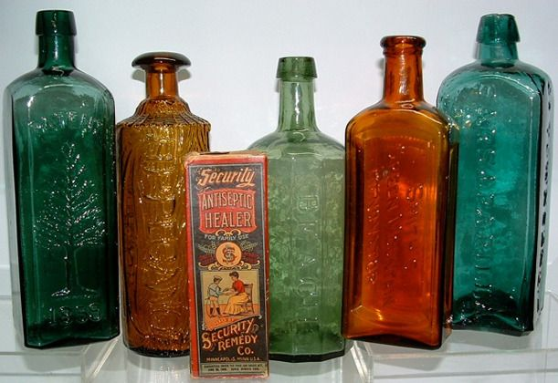 Patent Medicine Bottles - My grandfather had bottles like these at his drugstore from the 1930's - the early 1960's.