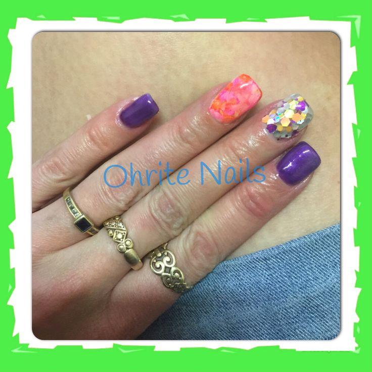 """Purple orange glitter sharpie nails using custom glitter blendz """"I Got Dis"""" mix"""
