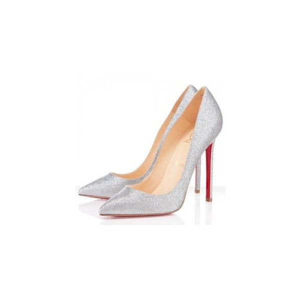 Christian Louboutin Pigalle 120mm Glitter Pumps Silver ❤ liked on Polyvore featuring shoes, pumps, heels, high heels, louboutin, silver high heel pumps, silver glitter shoes, glitter high heel shoes, glitter shoes and glitter heel pumps