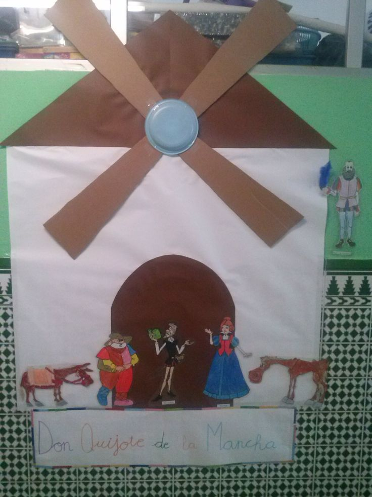 Mural elaborado por E.Infantil para conmemorar el IV centenario del Quijote.