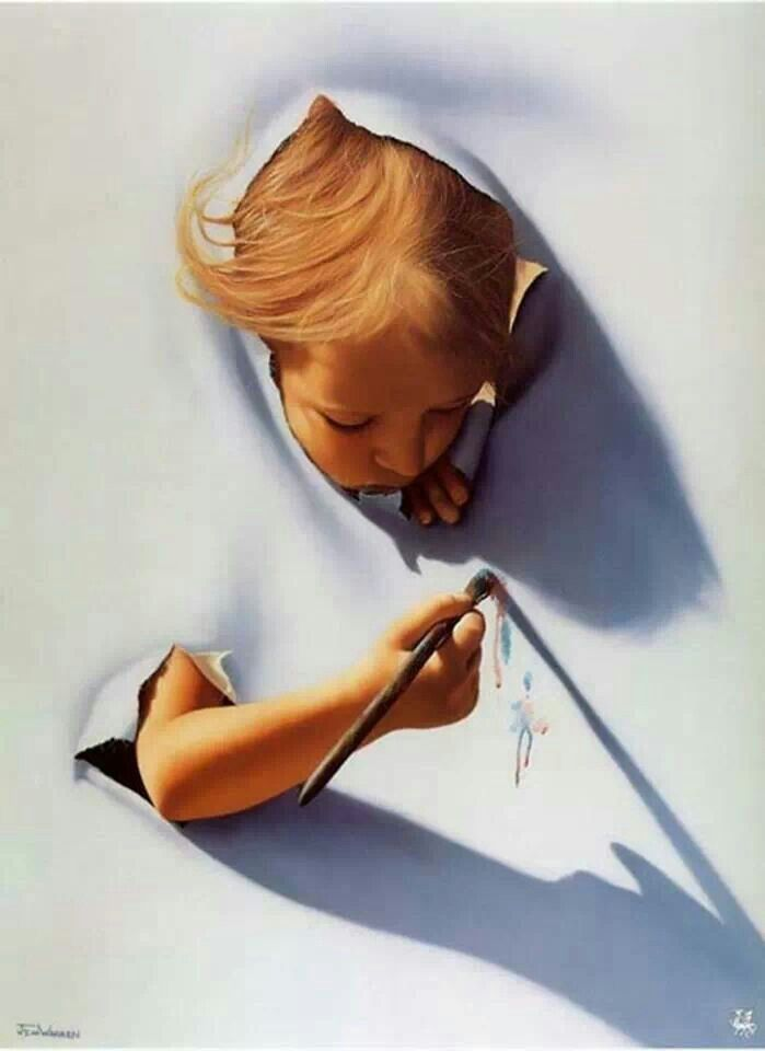 The shapes and shadows from the kid make the artwork seem 3-D. The child is popping out of the paper at you.