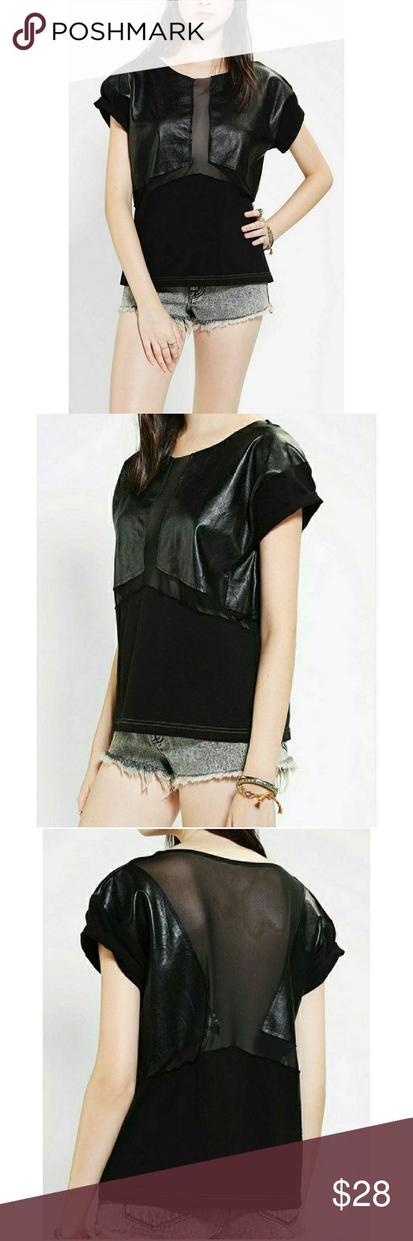 """Urban Outfitters Urban Renewal Tee Urban Outfitters Urban Renewal Chiffon and Faux Black Leather Tee   Sheer Mesh Panel Black   New without tags   Size Medium   Made in the USA From Vintage Fabrics  Approx?22"""" armpit to armpit 24"""" total length top to bottom Urban Outfitters Tops"""