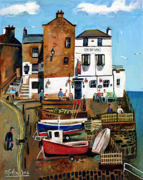 Comings & goings at the Bay Hotel, Robin Hood's Bay, North Yorkshire. Format: Limited edition Giclee printed on 310 gsm PH neutral fine art archival paper. Single mounted  The prints are signed & come with a certificate of authenticity. Print size: 46 x 36.5cm Mounted size: 58 x 48.5cm