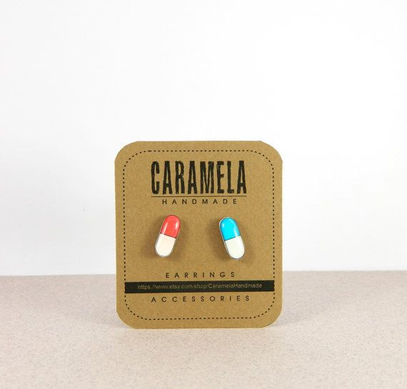 Red and Blue Pill / Matrix pills stud earrings by CaramelaHandmade