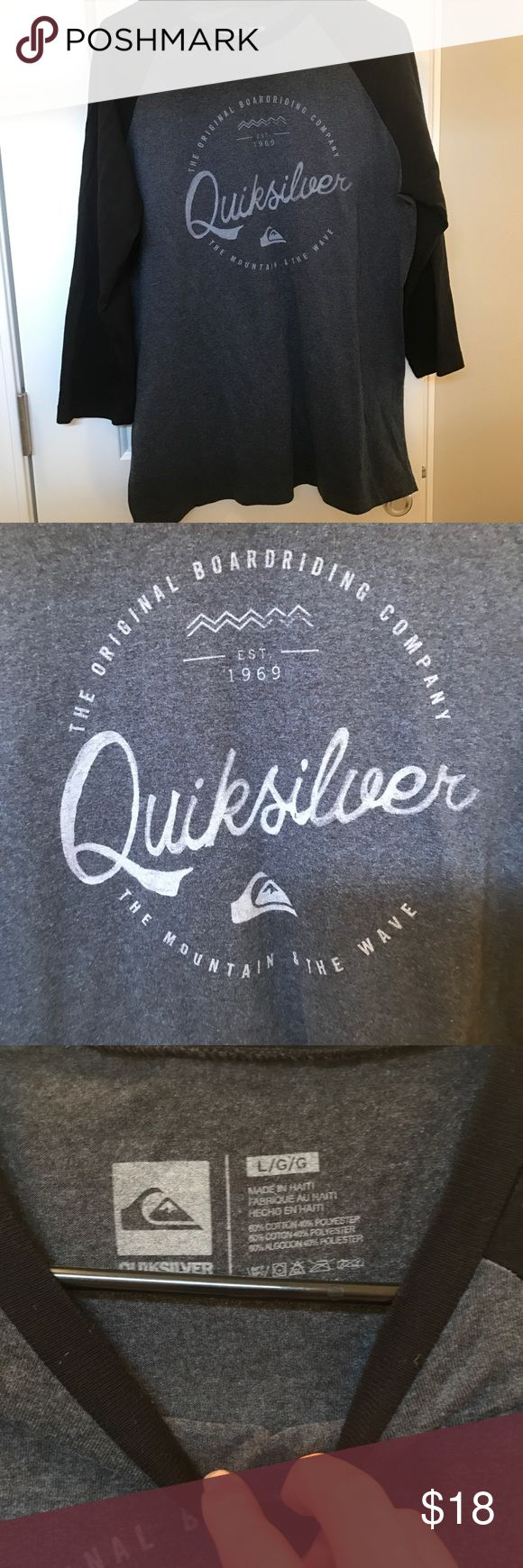 Men's Quicksilver 3/4 Baseball Shirt In excellent condition, only worn once. quicksilver Shirts Tees - Long Sleeve