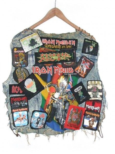 """denim vest iron maiden I have a pair """"concert"""" jeans from the 60s, 70s, and 80s that look like that. Embroidered patches from every band, and pins, ribbons, silver charms, all concert related and sewn to those jeans. A scrapbook of 20+ years of my life"""