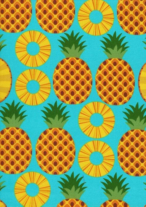 Hawaiian Luau Tablecloth Pineapple Fruit Slices Fabric