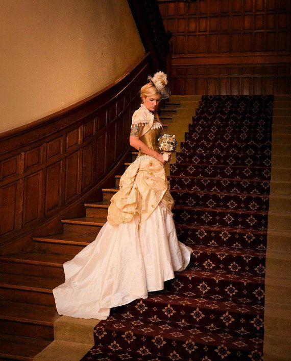 Vestido de boda de Steampunk, Steampunk Wedding, Novia de Steampunk, boda victoriana, vestido de boda de cuento de hadas, bullicio falda, corset, mini top hat
