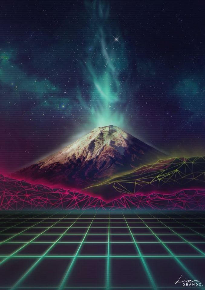 Synthwave Cotopaxi Retrofuturism Volcano | Punk from the ...