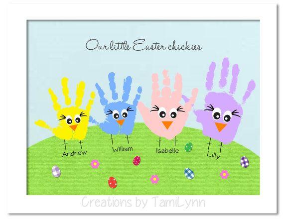 Chickie Handprint Art Multiple Handprints by CreationsbyTamiLynn, $20.00