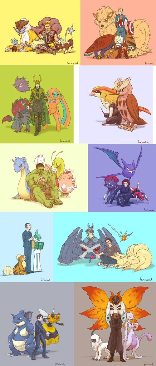 Avengers and Pokemon! I love that Coulson has a Growlithe while Captain has an Arcanine! Coulson wants to be just like him!