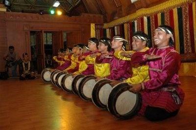 Rempak Gendang dance, Lampung Peminggir people, Indonesia.