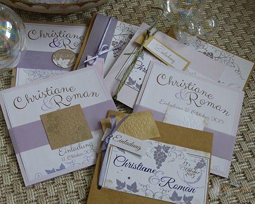 Scrapbooking Auswahl.. Einladungskarten Hochzeit zum Thema Wein in flieder und Beerentönen. Wedding Invitation Wine